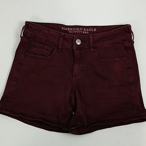 American Eagle Outfitters maroon Twill Midi Shorts